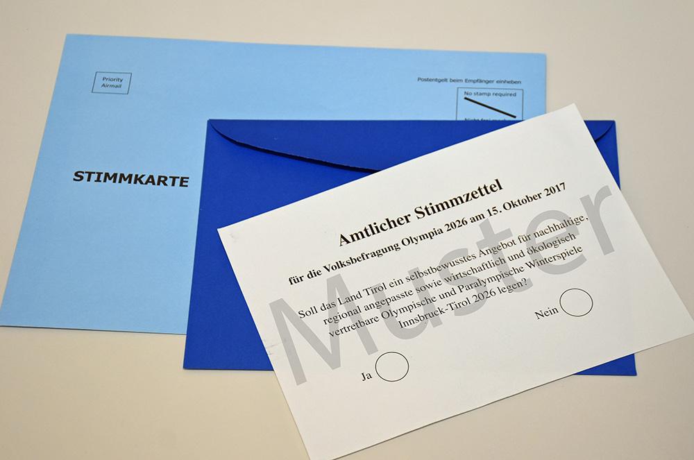 Stimmkarten Information – Volksbefragung Olympia 2026 – 15 Okt. 2017