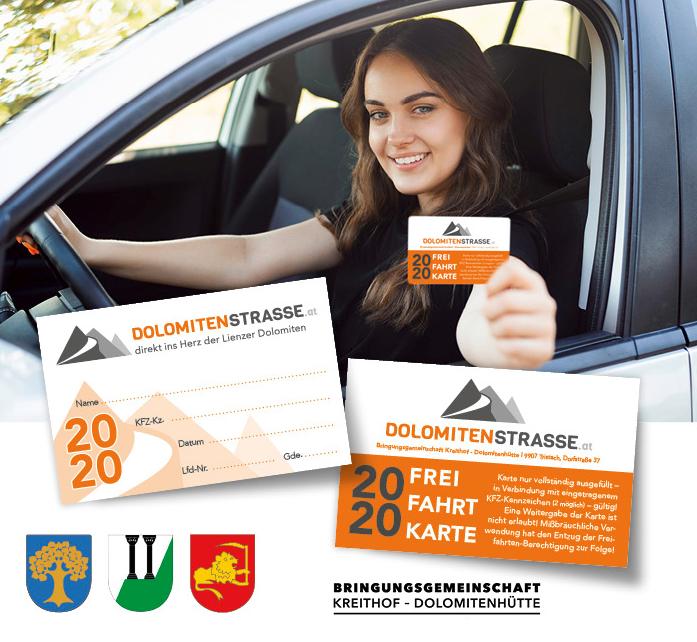 Dolomitenstrasse – Frei-Fahrt-Karte 2020***gültig auch für Maut-Saison 2021